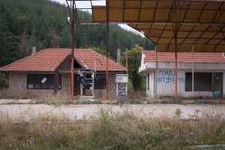 Abandoned gas station nearby Obel. Heading to the border crossing with Macedonia