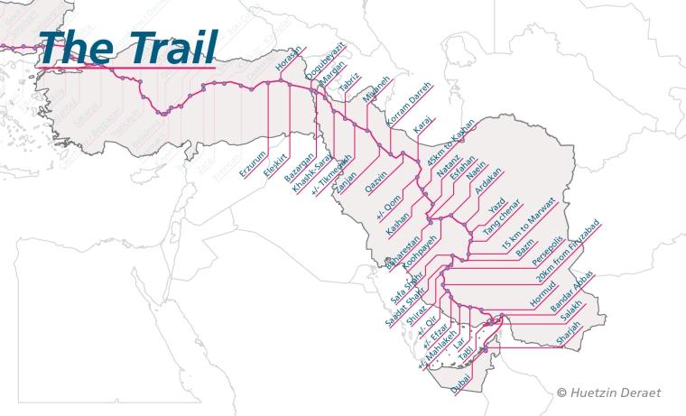 Detail Map: Erzurum to Dubai